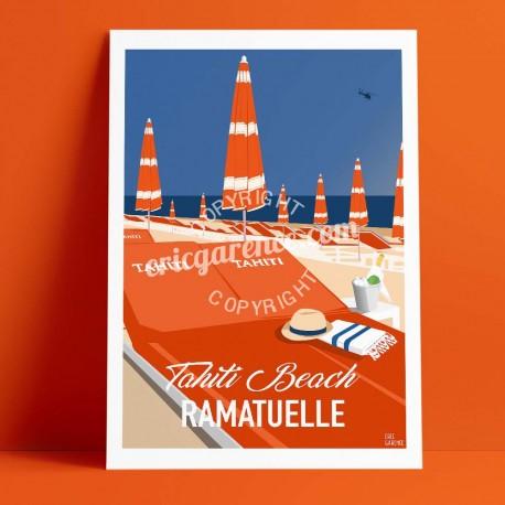 Affiche Saint Tropez Transats à Tahiti Plage par Eric Garence, Provence Côte d'Azur Var art galerie artiste contemporain art-déc