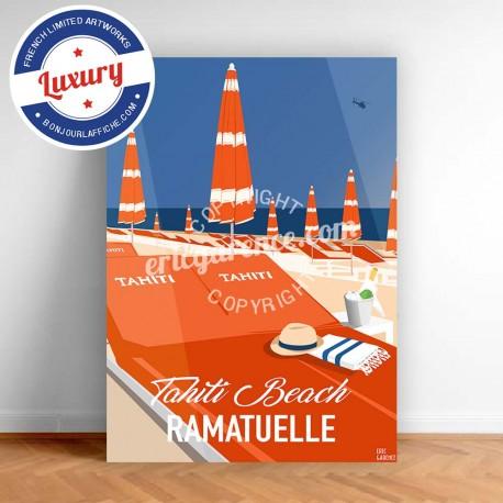 Affiche Saint Tropez Transats à Tahiti Plage par Eric Garence, Provence Côte d'Azur Var tableau décoration idée cadeau luxe coll