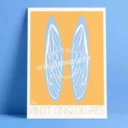 Affiche La Cigale de Provence par Eric Garence, Provence Sud Gorges du Verdon rétro vintage illustration dessin niçois ailes jau