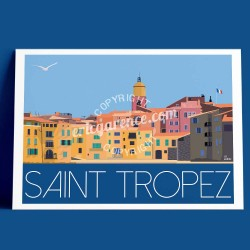 Poster La ponche à Saint Tropez by Eric Garence, Provence French Riviera var painter savignac roger broders advertising ad penny