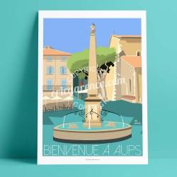 Affiche Aups par Eric Garence, Provence Sud Gorges du Verdon voyage souvenir vacances Pinup palace fontaine café boules village