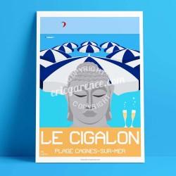 Affiche Le Cigalon plage à Cagnes par Eric Garence, Côte d'Azur France rétro vintage illustration dessin niçois Renoir Colettes