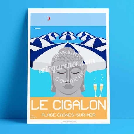 Poster Le Cigalon plage à Cagnes by Eric Garence, French Riviera aluminim plexiglass paper original limited Renoir Colettes nice
