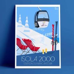 Affiche Isola 2000 par Eric Garence, Côte d'Azur France voyage souvenir vacances Pinup palace Alpes snow station champion vue me