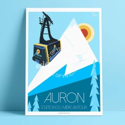 Poster Auron, station du Mercantour by Eric Garence, Alps Mercantour poster vintage illustration drawing french ski surf resort