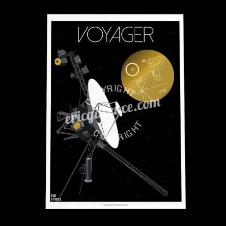 Affiche La sonde Voyager 2 par Eric Garence, Cap Canaveral Guyane alu dibond plexiglass papier original limité conquete espace s