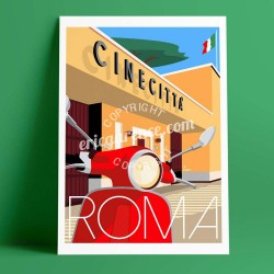 La Vespa, Cinecittà, Roma, Garence, Italia, artist, Roma, new, deco, gift, business, card, collection, poster, studio, albergo