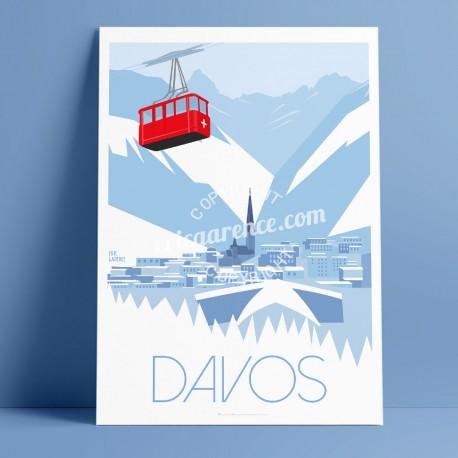 Affiche Davos par Eric Garence, Suisse Grisons Jakobshorn Pischa voyage souvenir vacances Pinup palace wef 2019 trump yama junio
