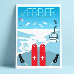 Poster Verbier by Eric Garence, Swiss Valais Matterhorn art gallery artist contemporary collection xtreme wetter trail mountain