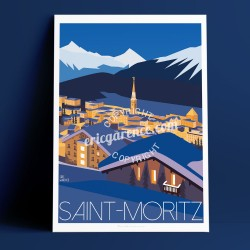 Poster Saint Moritz de nuit by Eric Garence, Swiss Grisons l'Engadine art gallery artist contemporary collection hitchcock webca