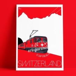 Affiche Train Suisse par Eric Garence, Suisse Switzerland affichiste savignac roger broders publicité pub Ticket ligne voyage lu