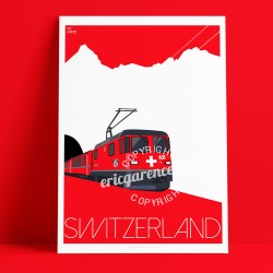 Poster Train Suisse by Eric Garence, Swiss Switzerland painting decoration gift luxury idea Ticket line travel luxury ski holida
