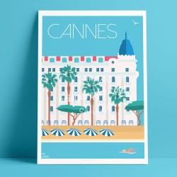 Cannes - Hotel, Croisette, plage, Carlton, Martinez, Festival de cannes  - Affiche Rétro, Art, Gift, seminar, congress, business