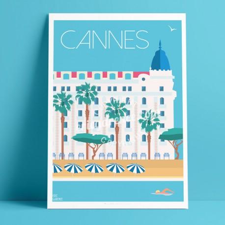 Affiche Cannes Palaces par Eric Garence, Côte d'Azur France tableau décoration idée cadeau luxe collection Carlton Martinez Gran