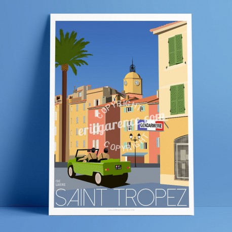 Poster Le gendarme de Saiont Tropez by Eric Garence, Provence French Riviera var poster vintage illustration drawing french cruc