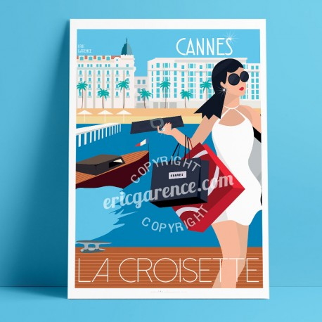 Poster La Croisette, Cannes by Eric Garence, French Riviera poster vintage illustration drawing french Carlton Martinez Palace G
