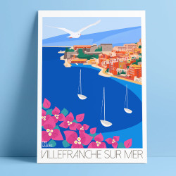 Poster Villefranche-sur-mer by Eric Garence, French Riviera poster vintage illustration drawing french cocteau village sea harbo