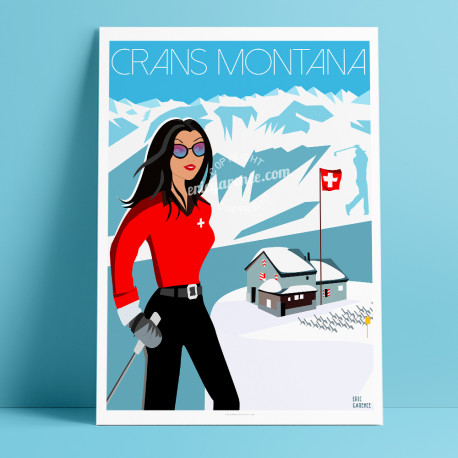 Poster Pinup à Crans montana by Eric Garence, Swiss Valais painter savignac roger broders advertising ad webcam chalet luxury sk