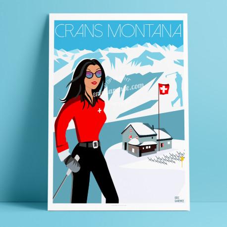 Affiche Pinup à Crans montana par Eric Garence, Suisse Valais rétro vintage illustration dessin niçois webcam chalet luxe ski al