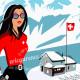 Affiche Pinup à Crans montana par Eric Garence, Suisse Valais affichiste savignac roger broders publicité pub webcam chalet luxe
