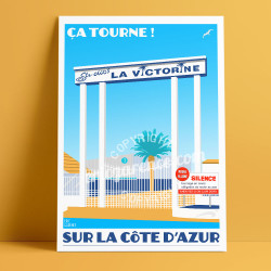 Poster Studios de la Victorine by Eric Garence, French Riviera poster vintage illustration drawing french Cinema fellini actors