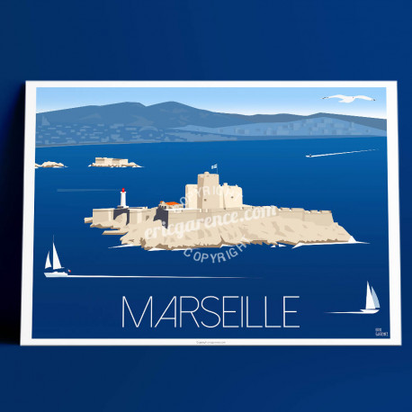 Poster Marseille, le Château d'if by Eric Garence, Provence South Gorges du Verdon poster vintage illustration drawing french OM