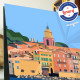 Poster Saint Tropez vue Mer by Eric Garence, Provence French Riviera var painter savignac roger broders advertising ad sailboat
