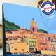 Affiche Saint Tropez vue Mer par Eric Garence, Provence Côte d'Azur Var affichiste savignac roger broders publicité pub voilier