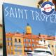 Affiche Luxe à Saint Tropez par Eric Garence, Provence Côte d'Azur Var art galerie artiste contemporain art-déco voilier yacht r