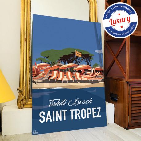 Poster Saint Tropez Fin de Soirée à Tahiti Plage by Eric Garence, Provence French Riviera var travel memories holydays Pinup jet