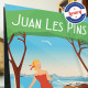 Poster Juan-les-pins by Eric Garence, French Riviera poster vintage illustration drawing french Water skiing gould pine forest j