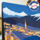 Affiche Saint Moritz de nuit par Eric Garence, Suisse Grisons l'Engadine rétro vintage illustration dessin niçois hitchcock webc