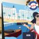 Affiche La Croisette, Cannes par Eric Garence, Côte d'Azur France voyage souvenir vacances Pinup palace Palace Carlton Martinez