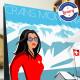 Affiche Pinup à Crans montana par Eric Garence, Suisse Valais voyage souvenir vacances Pinup palace webcam chalet luxe ski alpin