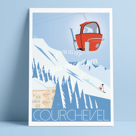 Affiche Luxe à Courchevel par Eric Garence, Alpes Haute Savoie France affichiste savignac roger broders publicité pub Les Airell