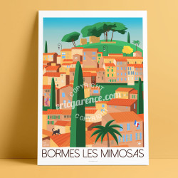 Poster Bormes-les-Mimosas by Eric Garence, French Riviera Provence poster vintage illustration drawing french Chirac macron brig
