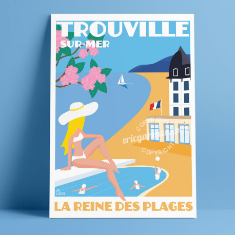 Trouville Casino Poster by Eric Garence, Deauville, Normandy coast France Souvenir holiday trip Pinup Barriere Calvados
