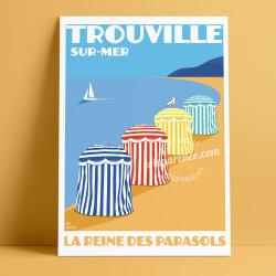 Affiche Casino Trouville par Eric Garence, Deauville, côte Normandie France voyage souvenir vacances Pinup Barriere Calvados
