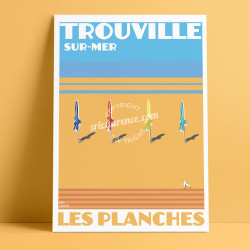 Trouville Boards Poster by Eric Garence, Deauville, Normandy coast France Souvenir holiday trip Pinup Seagull Savignac