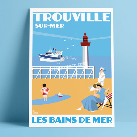 Affiche Bains de mer de Trouville par Eric Garence, Deauville, côte Normandie France voyage souvenir vacances famille sable Savi
