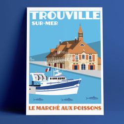Trouville Market Fish Poster by Eric Garence, Deauville, Normandy coast France Souvenir holiday trip Boat Seagull Savignac
