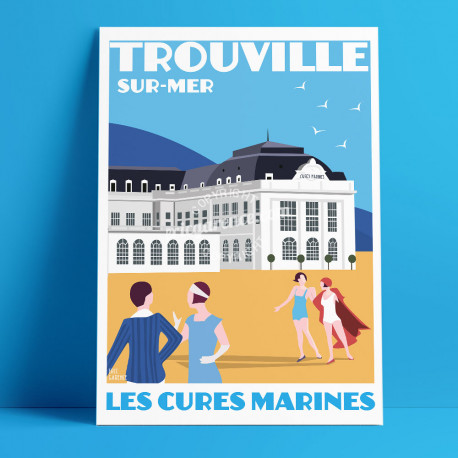 Trouville Marine Cures Poster by Eric Garence, Deauville, Normandy coast France Souvenir holiday trip SPA Luxury