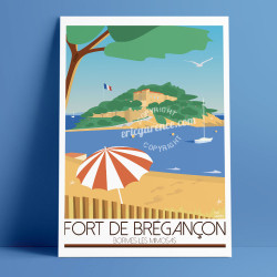 Poster Fort de Brégancçon by Eric Garence, French Riviera Provence poster vintage illustration drawing french Chirac macron brig