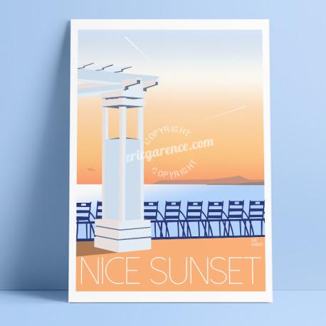 Affiche Nice Sunset par Eric Garence, Côte d'Azur France Chaises bleues cadeau art poster