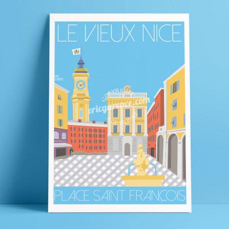 Affiche Nice Place Saint François par Eric Garence, Côte d'Azur France Vieux Nice cadeau art poster