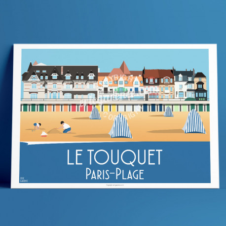 Poster Le Touquet Paris Plage by Eric Garence, Gironde, Atlantic Coast France travel memories holidays Beach