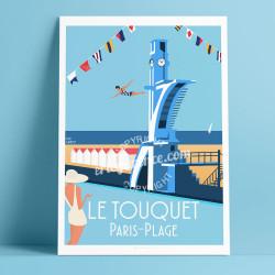 Affiche Le Touquet Paris-Plage par Eric Garence, Plongeoir, France voyage souvenir vacances Plage Jeux Piscine