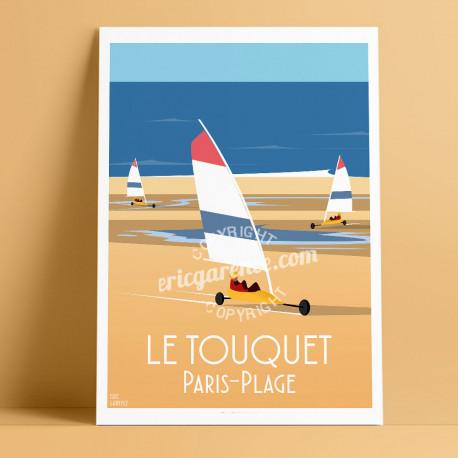 Affiche Le Touquet Paris-Plage par Eric Garence, Char à voile, France voyage souvenir vacances Plage Jeux Piscine Mer