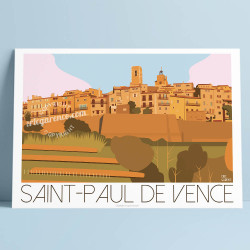 Poster Saint Paul de Vence by Eric Garence, French Riviera art gallery artist contemporary collection Golden dove ramparts corsi