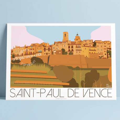 Affiche Saint Paul de Vence par Eric Garence, Côte d'Azur France art galerie artiste contemporain art-déco Colombe d'or remparts